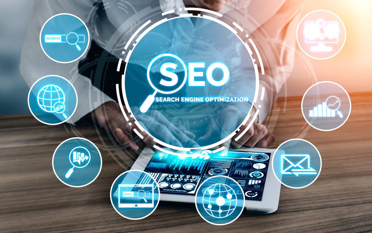 SEO - Search Engine Optimization for Online Marketing Concept. Modern graphic interface showing symbol of keyword research website promotion by optimize customer searching and analyze market strategy.